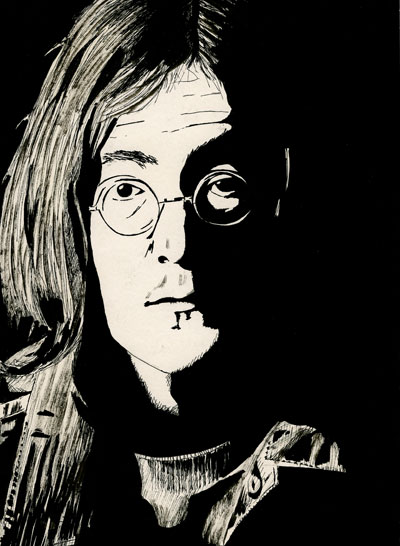 John Lennon 1968 pen and ink drawing white album
