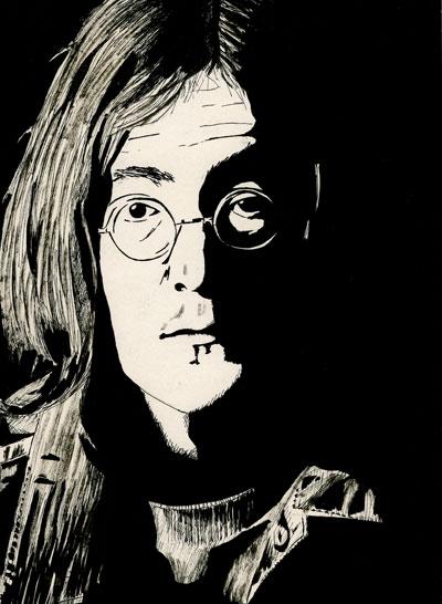 John Lennon 1968 pen and ink drawing white album